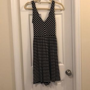 LOFT Black and White Striped Dress